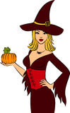 Girl witch with pumpkin Stock Photography