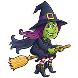 Girl Witch Riding A Broom Royalty Free Stock Photos