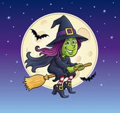 Girl Witch Riding A Broom with Moon Stock Images