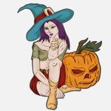 Girl witch sitting near a festive pumpkin. Vector illustration girl witch sitting near a festive pumpkin Stock Photos