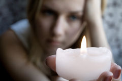 Girl With A Candle Royalty Free Stock Image