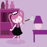 Girl With A Duster Cleaning Furniture Stock Photo