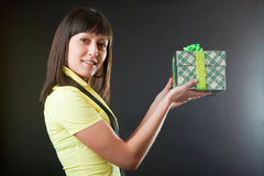 Girl With A Gift Royalty Free Stock Photos