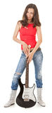 Girl With A Guitar Stock Images