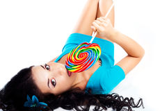 Girl With A Lollipo Royalty Free Stock Photo