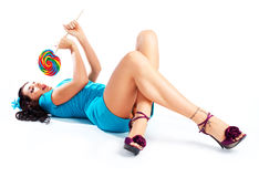 Girl With A Lollipop Royalty Free Stock Images
