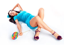 Girl With A Lollipop Royalty Free Stock Photography