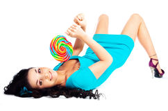 Girl With A Lollipop Royalty Free Stock Image