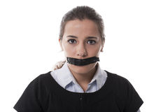 Girl With A Patch On Her Mouth Stock Image
