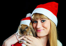 Girl With A Rabbit Stock Photography