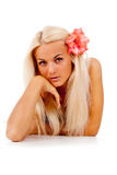 Girl With A Red Flower, Was Plaited In Her Hair Stock Photos