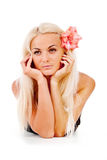 Girl With A Red Flower, Was Plaited In Her Hair Stock Images