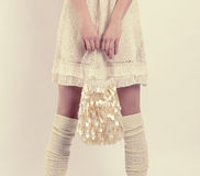 Free Girl With A White Handbag Royalty Free Stock Images - 38304349