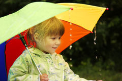 Free Girl With An Umbrella In The Rain Royalty Free Stock Image - 31208346