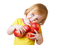 Girl With Apple Royalty Free Stock Photos