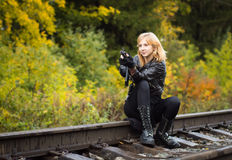 Free Girl With Arms On The Rails Royalty Free Stock Image - 81331826