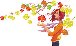 Free Girl With Autumn Leaves Royalty Free Stock Photo - 10961525