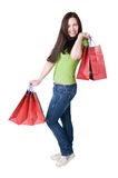 Girl With Bags Royalty Free Stock Image