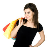 Girl With Bags Royalty Free Stock Images