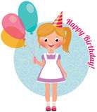 Girl With Balloons Birthday Stock Photography