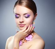 Girl With Beautiful Make-up Stock Images