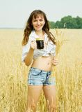 Girl  With Beer At Field Royalty Free Stock Photos