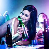 Girl With Beer Bottle Stock Images