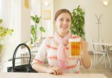 Girl  With Beer Mug Royalty Free Stock Photo