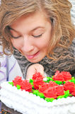 Girl With Big Cake Royalty Free Stock Photography