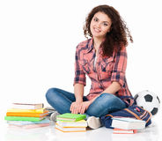 Girl With Books Sitting On Floor Royalty Free Stock Photos