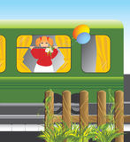 Girl With Bouquet Of Chamomiles And Balls In Train Stock Photo