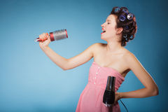 Free Girl With Curlers In Hair Holds Hairdreyer Stock Photos - 49895083