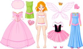 Girl With Different Princess Dresses Stock Photos