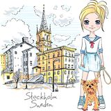 Girl With Dog In Stockholm Royalty Free Stock Photo