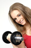 Girl With Dumbbell Royalty Free Stock Photography
