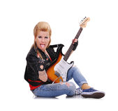 Girl With Electric Guitar Royalty Free Stock Photo