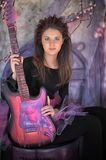 Girl With Electric Guitar Royalty Free Stock Photos