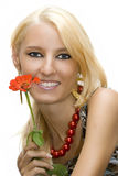Girl With Flower Isolated Stock Photos