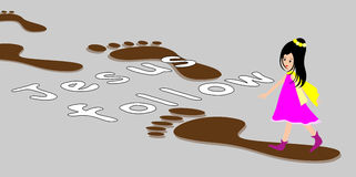 Girl With Footprints -following Jesus Footsteps Royalty Free Stock Image