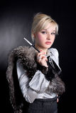 Girl With Fur Royalty Free Stock Photo