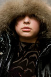 Girl With Fur Stock Images