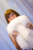 Girl With Fur Stock Photography