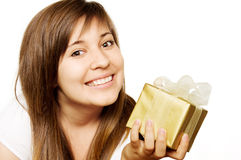 Girl With Gift Box Stock Photography