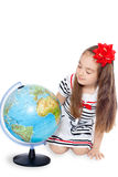 Girl With Globe Royalty Free Stock Photos