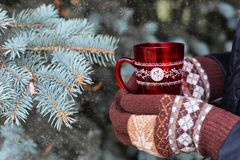 Free Girl With Gloves Mittens Holding A Cup Of Red With Hot Coffee Royalty Free Stock Images - 125730349