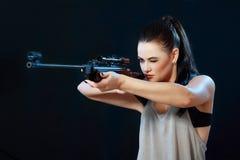 Girl With Gun Royalty Free Stock Photo