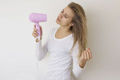 Girl With Hair Dryer 09 Stock Images