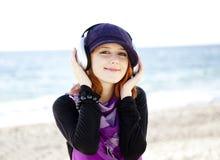 Girl With Headphone Stock Photo