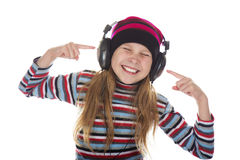 Girl With Headphones Listening To Music Royalty Free Stock Photography