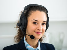 Free Girl With Headset And Laptop In Office Stock Photo - 83554500